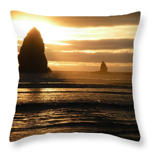 Sunset Throw Pillow featuring the photograph Sunset At Cannon Beach by David Quist