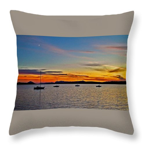 North America Throw Pillow featuring the photograph Sunset At Lake Memphremagog - Qc by Juergen Weiss