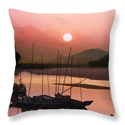 Abstract Throw Pillow featuring the photograph sunset at Mae Khong river by Setsiri Silapasuwanchai