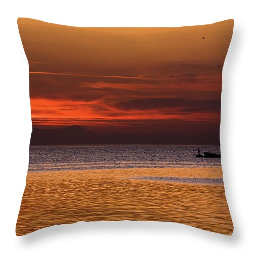 Sunset Throw Pillow featuring the photograph Sunset At The Sea by Rico Besserdich