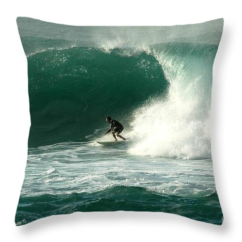 Surfing Throw Pillow featuring the photograph Sunset Beach Hawai'i by Mark Gilman