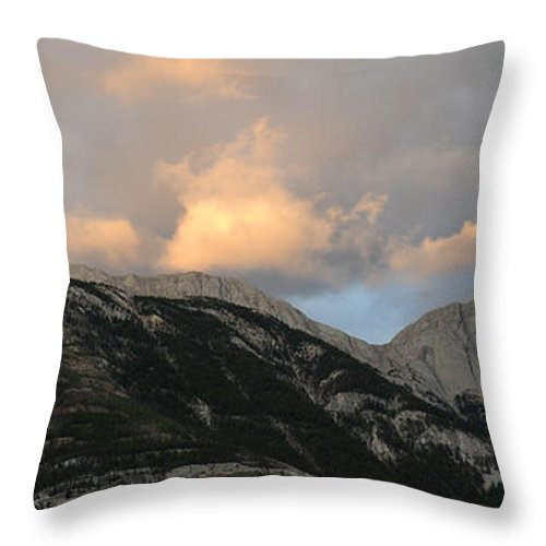 Mountains Throw Pillow featuring the photograph Sunset In Jasper by Vivian Christopher