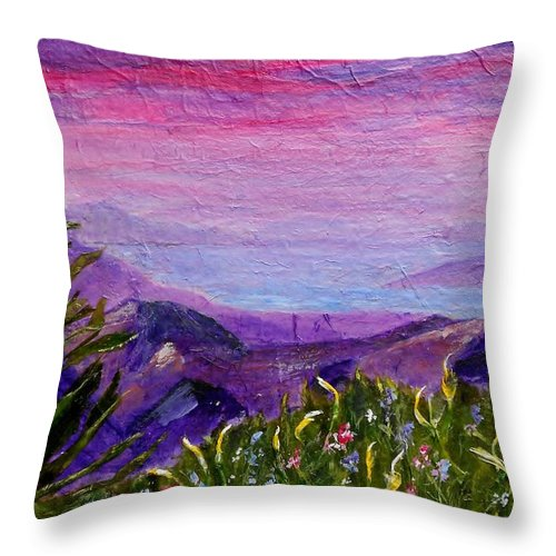Collage Throw Pillow featuring the painting Sunset Lake by Jamie Frier