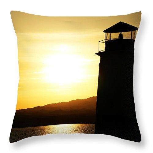 Sunset Throw Pillow featuring the photograph Lake Havasu Sunset Lighthouse by Charles Benavidez
