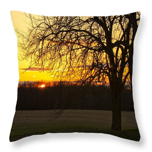 Soft Yellow And Orange Sunset Colors Throw Pillow featuring the photograph Sunset Near The Jersey Shore by Ann Murphy