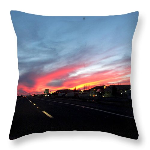 Sunsets Throw Pillow featuring the photograph Sunset On Route 66 by Kathy Corday