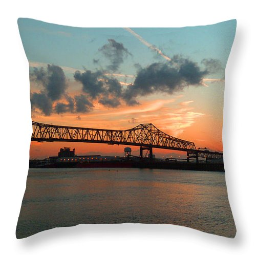 Bridge Throw Pillow featuring the photograph Sunset On The Mississippi by Lydia Holly
