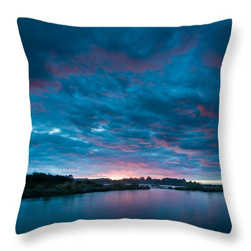 Background Throw Pillow featuring the photograph Sunset Over A River by U Schade