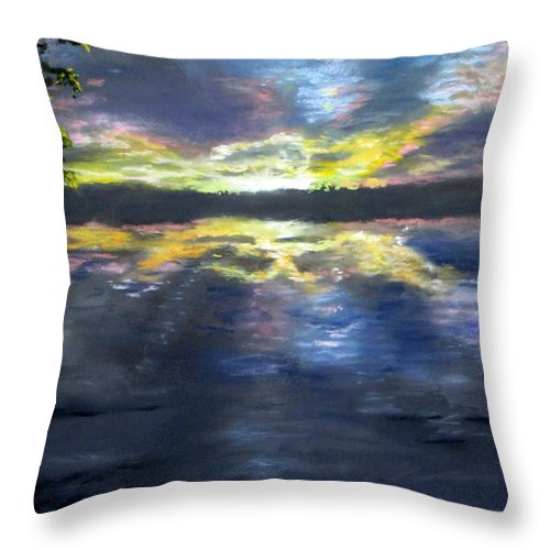 Sunset Throw Pillow featuring the painting Sunset Over Mystic Lakes by Jack Skinner