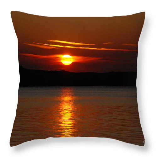 Silver Lake Sand Dunes Throw Pillow featuring the photograph Sunset Over Silver Lake Sand Dunes by Grace Grogan