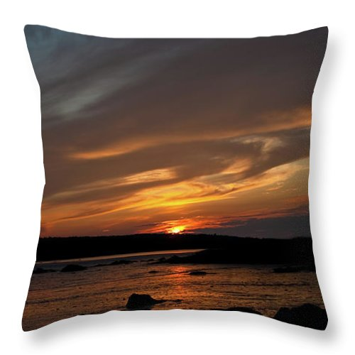 Sunset Throw Pillow featuring the photograph Sunset Over The Clamflats by Greg DeBeck