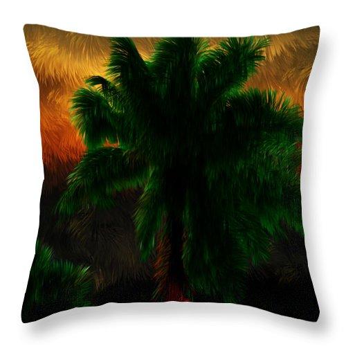 Sunset Throw Pillow featuring the digital art Sunset Palm by Nick Sorbin