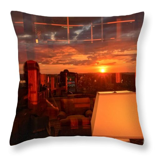 Mckeever Lodge Sunset Throw Pillow featuring the photograph Sunset Reflections by Adam Jewell