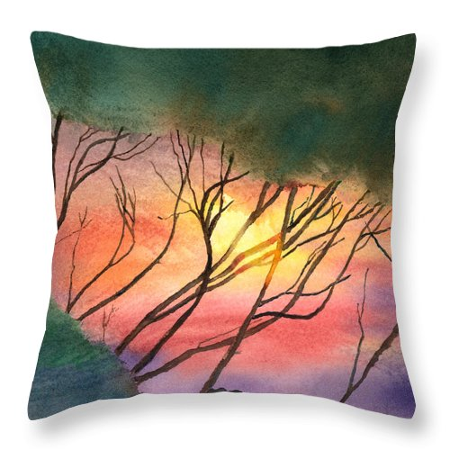 Tree Throw Pillow featuring the painting Sunset Through The Trees by Arline Wagner