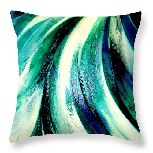 Waterfall.light.mountain Throw Pillow featuring the painting Sunshine In Waterfall by Kumiko Mayer