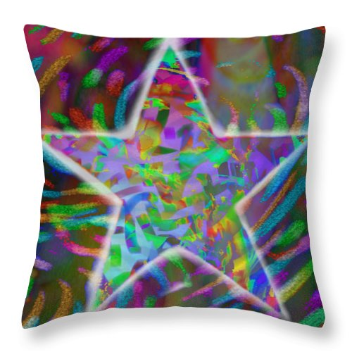 Star Throw Pillow featuring the mixed media Super Star by Kevin Caudill