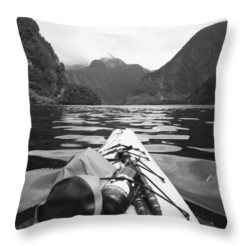 Cliff Throw Pillow featuring the photograph Supplies On The End Of A Kayak Going by David DuChemin