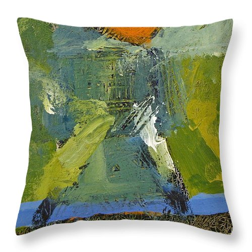 Abstract Paintings Throw Pillow featuring the painting Surf And Turf by Cliff Spohn