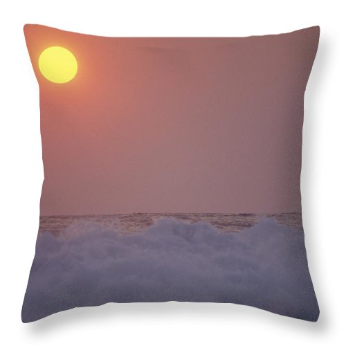 Water Throw Pillow featuring the photograph Surf Breaks On A Puerto Escondido Beach by Raul Touzon