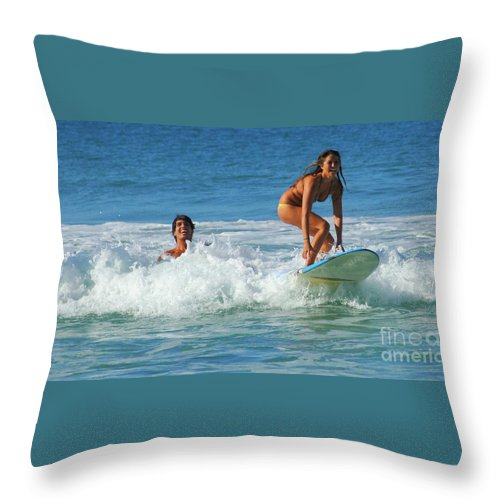 Hawaii Throw Pillow featuring the photograph Surf Buddies by Bob Christopher