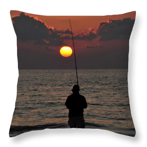 Fine Art Photography Throw Pillow featuring the photograph Surf Fishing 1 by David Lee Thompson