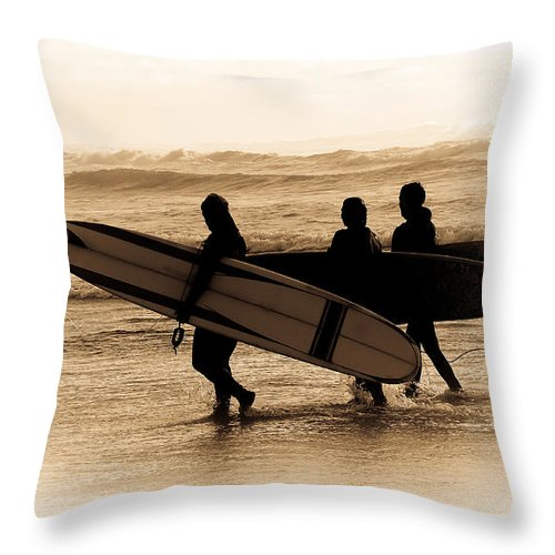 Surfs Up Throw Pillow featuring the photograph Surfs Up Sephia by Steve McKinzie