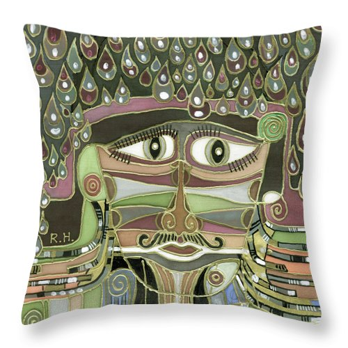 Surprize Throw Pillow featuring the painting Surprize Drops Surrealistic Green Brown Face With Liquid Drops Large Eyes Mustache by Rachel Hershkovitz