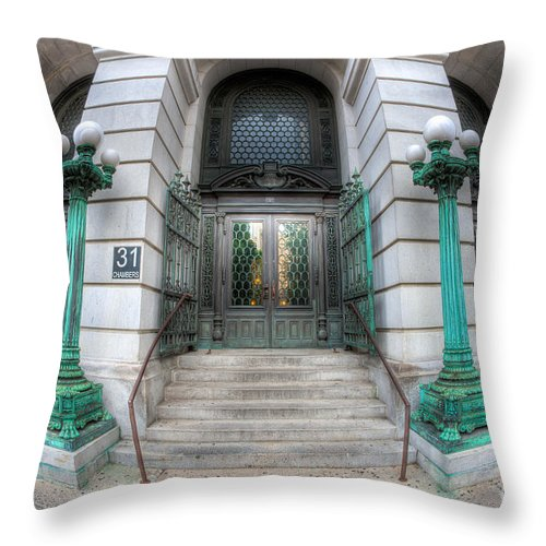 Clarence Holmes Throw Pillow featuring the photograph Surrogate's Courthouse I by Clarence Holmes