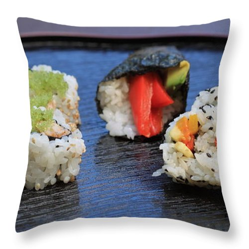 Food Throw Pillow featuring the photograph Sushi California Roll by Henrik Lehnerer
