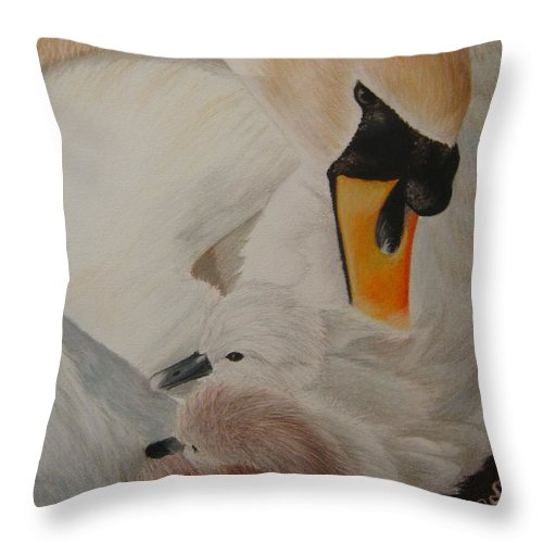 Swan Throw Pillow featuring the painting Swan With Cygnets by S V
