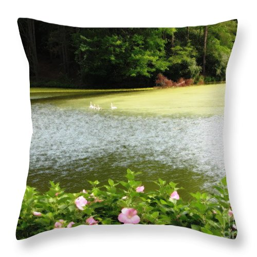 Hibiscuses Throw Pillow featuring the photograph Swans On Pond And Hibiscus With Oil Painting Effect by Rose Santuci-Sofranko
