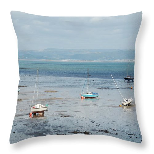 Swansea Bay Throw Pillow featuring the photograph Swansea Bay Sailboats by Tam Ryan
