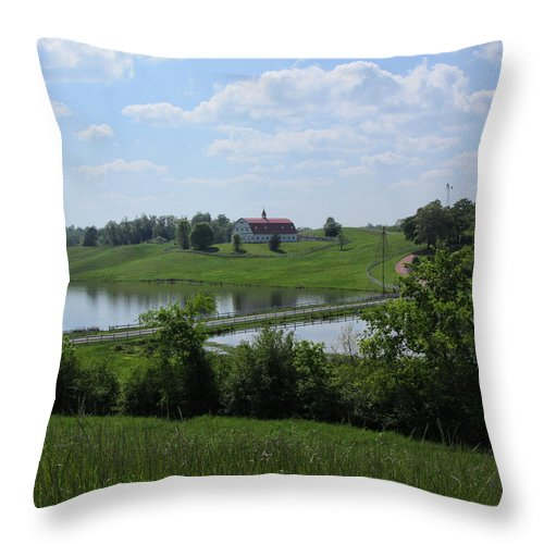 Barn Throw Pillow featuring the photograph Sweet Alabama Barn by Kathy Clark