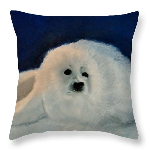 Christmas Throw Pillow featuring the drawing Sweet Little Winter Seal Pup Of My Soul by AE Hansen