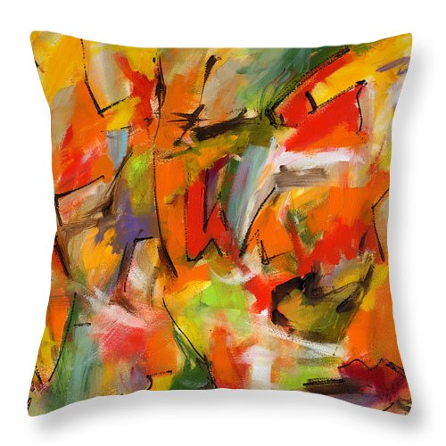 Abstract Art Throw Pillow featuring the painting Swept Away by Lynne Taetzsch