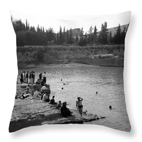 Swiming Throw Pillow featuring the photograph Swiming Time 1945 by Munir Alawi
