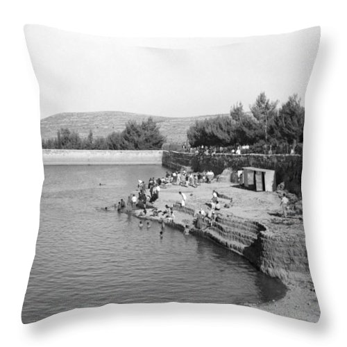Solomon's Pools Throw Pillow featuring the photograph Swimming Resort by Munir Alawi
