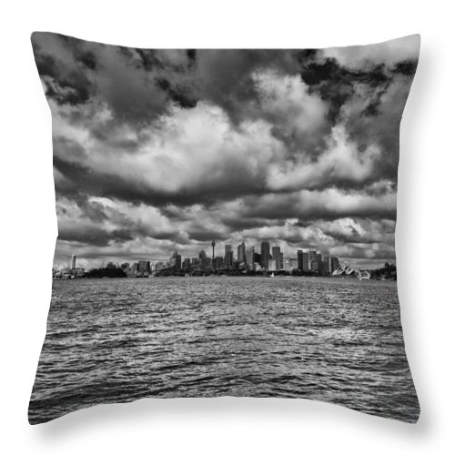 Sydney Throw Pillow featuring the photograph Sydney-black And White by Douglas Barnard