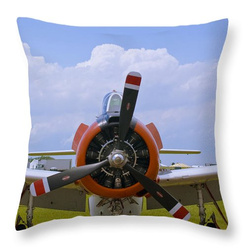 T-28 Throw Pillow featuring the photograph T-28 Nose by Tim Mulina