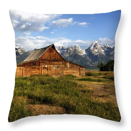 T. A. Moulton Barn - Mormon Row Dawn Sunrise Grand Teton National Park Wyoming Usa Throw Pillow featuring the photograph T.a. Moulton Barn by Paul Cannon