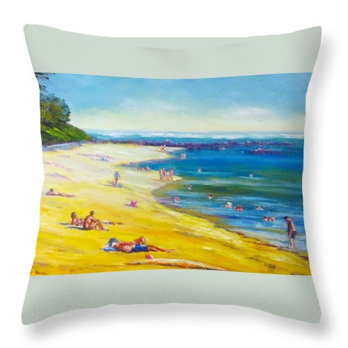 Beaches Throw Pillow featuring the painting Taking It Easy At Coloundra Beach Queensland Australia by Diane Quee