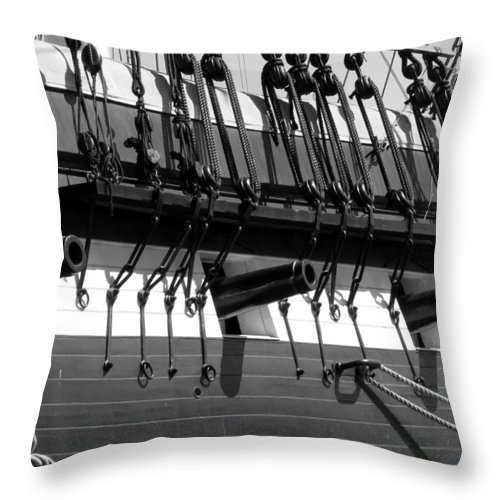 Tall Throw Pillow featuring the photograph Tall Ship Canons Black And White by Darleen Stry