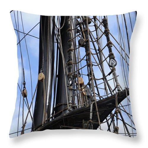 Mast Throw Pillow featuring the photograph Tall Ship Mast by Ronald Grogan