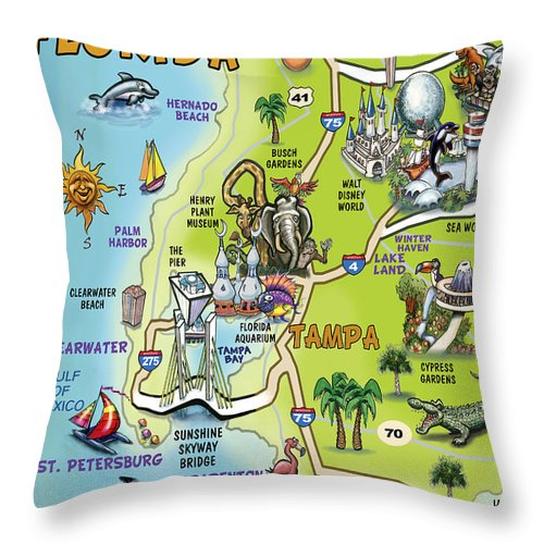 Tampa Throw Pillow featuring the painting Tampa Florida Cartoon Map by Kevin Middleton