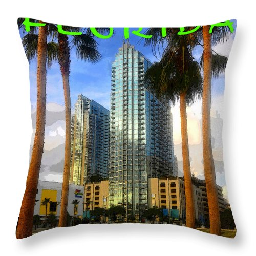 Art Throw Pillow featuring the painting Tampa Florida Poster Work Number One by David Lee Thompson