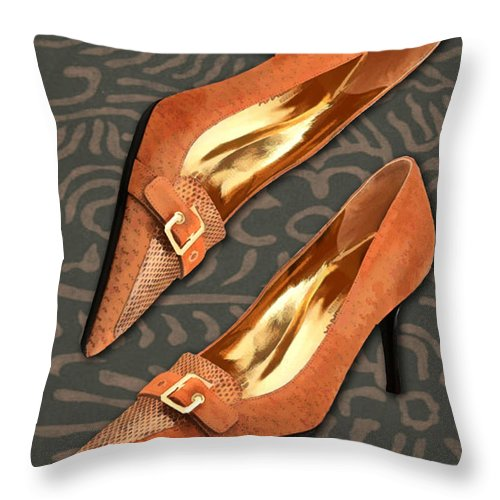 Shoes Heels Pumps Fashion Designer Feet Foot Shoe Stilettos Painting Paintings Illustration Illustrations Sketch Sketches Drawing Drawings Pump Stiletto Fetish Designer Fashion Boot Boots Footwear Sandal Sandals High+heels High+heel Women's+shoes Graphic Sophisticated Elegant Modern Throw Pillow featuring the painting Tan Ostrich With Golden Buckles by Elaine Plesser