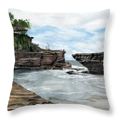 Bali Throw Pillow featuring the painting Tanah Lot Temple II Bali Indonesia by Melly Terpening