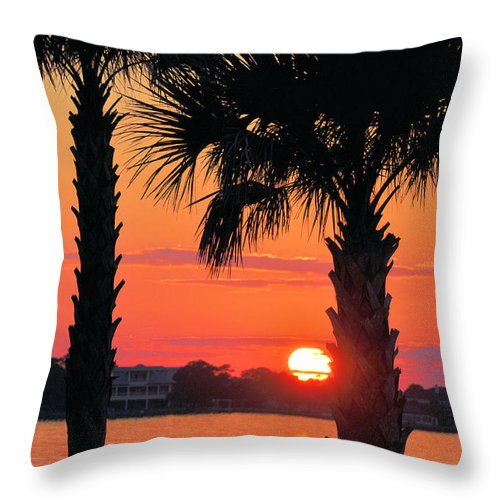 Seascapes Throw Pillow featuring the photograph Tangerine Dream by Jan Amiss Photography