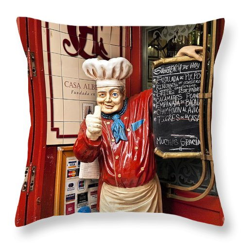 Europe Throw Pillow featuring the photograph Tapas Restaurant by John Greim