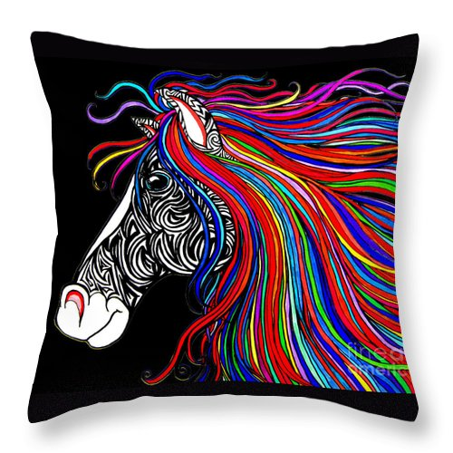 Horse Throw Pillow featuring the drawing Tattooed Horse by Nick Gustafson